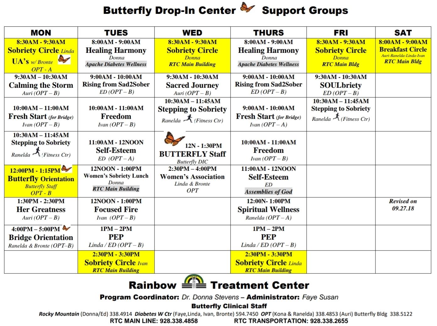 Class Schedules – Rainbow Treatment Center